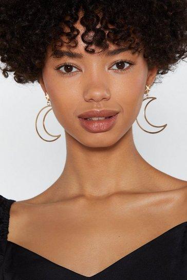 Gold Moon River Star Stud Drop Earrings