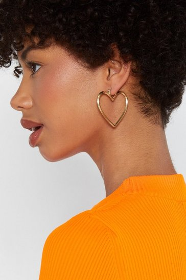 Womens Gold Play Your Heart Hoop Earrings