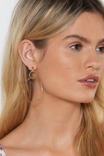 Womens Gold Run Rings Around 'Em Hoop Earrings