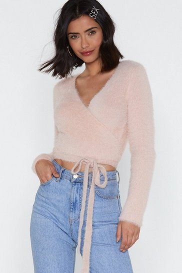 Pink Good All Around Wrap Cropped Sweater