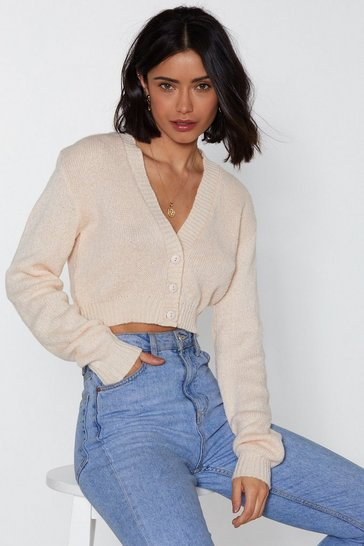 Womens Cream Button Cropped Cardigan