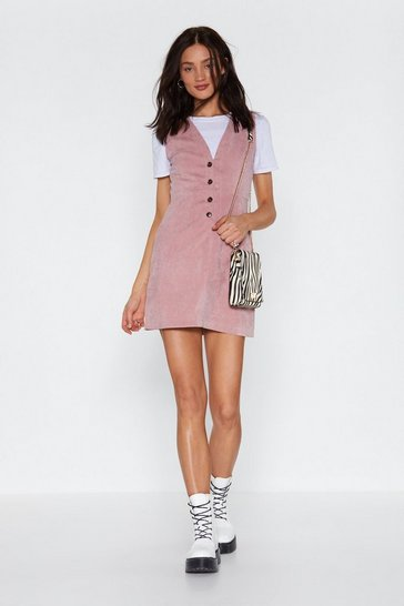 Womens Blush Button-Down to My Level Corduroy Dress