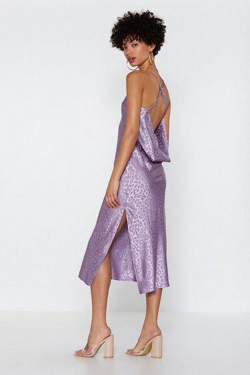 Womens Lilac Cat Walk Leopard Midi Dress