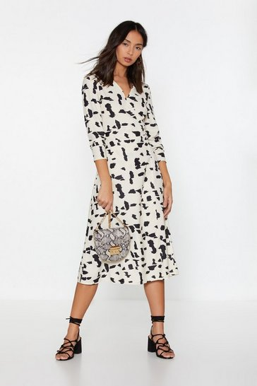 Womens Stone Make a Splash Wrap Midi Dress
