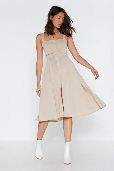 Womens Sand Button the Lookout Square Neck Midi Dress