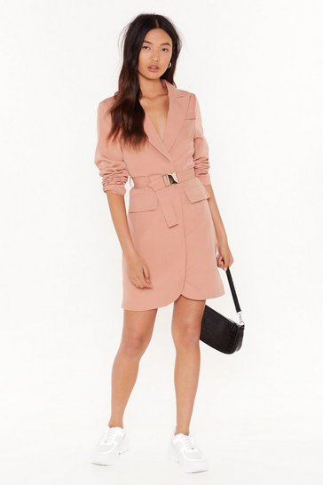 Apricot BRB Buckle Blazer Dress