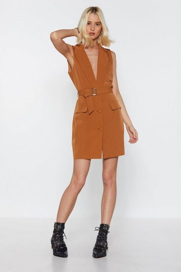 Womens Tobacco Get Down to It Plunging Blazer Dress