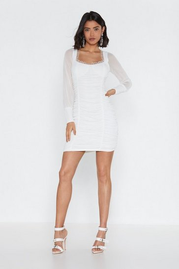 Womens White Gathered Cup Detail Mini Dress