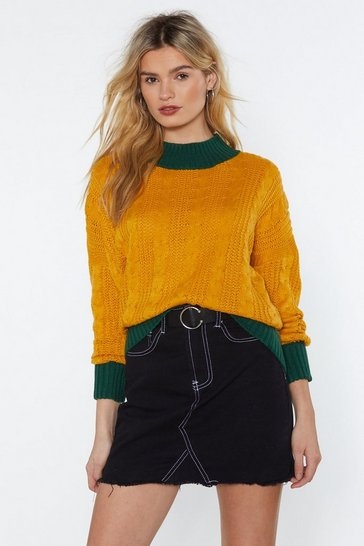 Womens Mustard Knit a Chance Cable Jumper