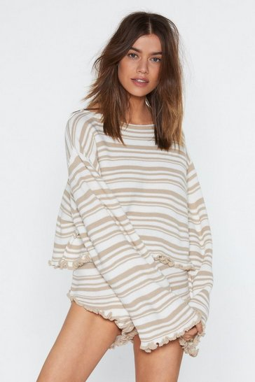 Womens Oatmeal Jump Into Bed Striped Sweater and Ruffle Shorts Lounge Set