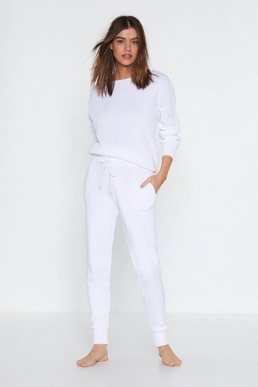 Womens Cream Serious Chills Sweater and Joggers Lounge Set