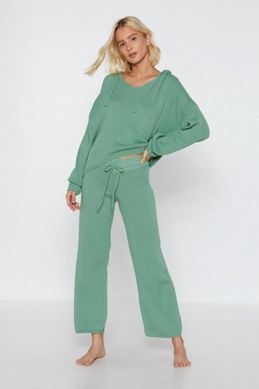 Womens Sage By Your Side Sweater and Wide-Leg Pants Set