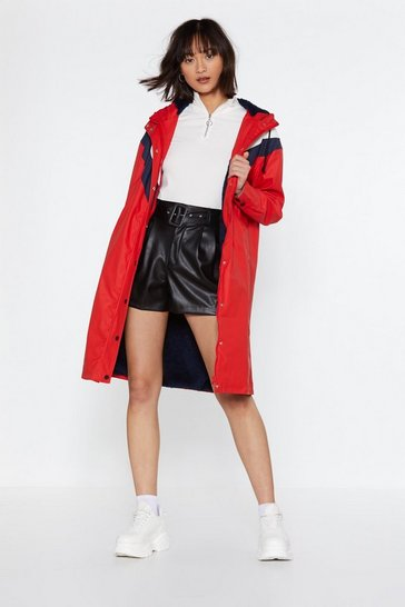 Womens Red Chevron to Watch Longline Jacket