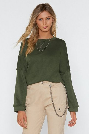 Womens Khaki Easy Now Oversized Sweater