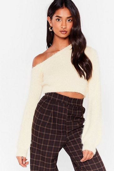 Cream Brush It Aside Cropped Sweater