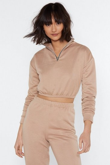 Womens Sand Just for Funnel Cropped Zip Jumper