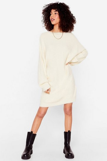 Womens Cream Lose Touch Oversized Jumper Dress