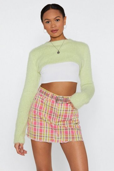 Womens Apple green Make the Cut Cropped Jumper