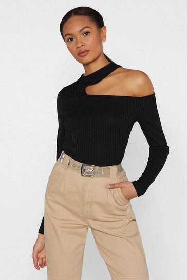Black Take a Short Cut-Out Ribbed Top
