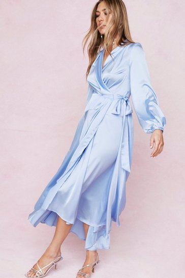 Bright blue Satin Long Sleeve Maxi Wrap Dress