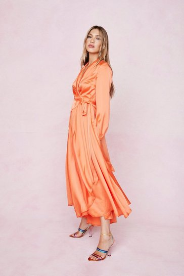 Orange Satin Long Sleeve Maxi Wrap Dress