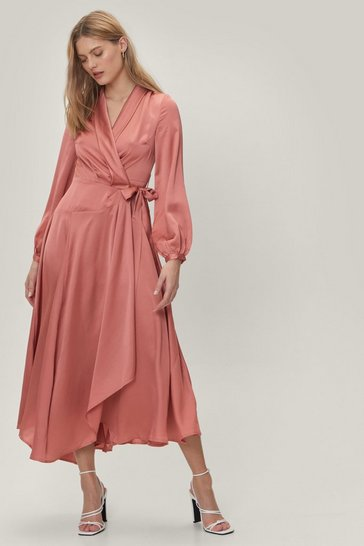 Rose Satin Long Sleeve Maxi Wrap Dress