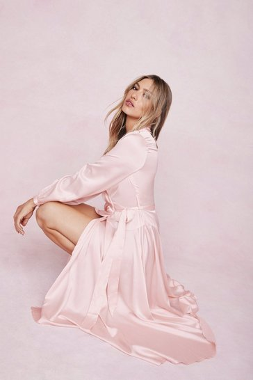 Soft pink Satin Wrap Over Maxi Dress