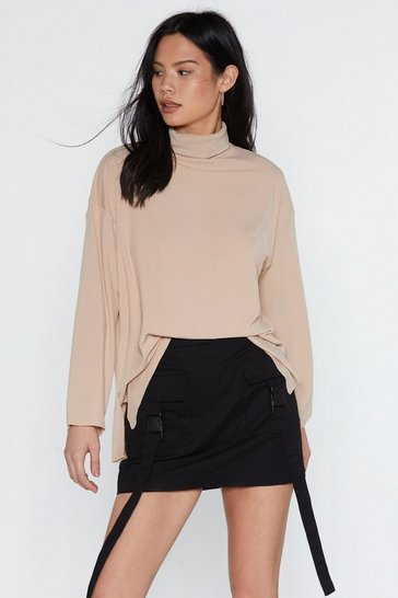 Womens Stone Bring Knit On Turtleneck Jumper