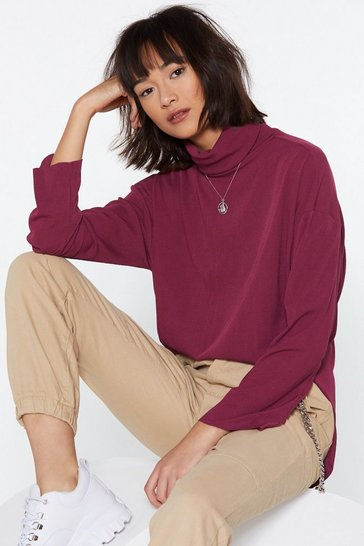 Womens Wine Bring Knit On Turtleneck Jumper