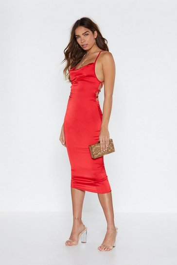 Womens Red Cowl Are You Satin Midi Dress