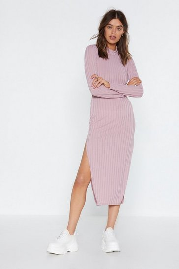 Womens Mauve Slit Your Stride Ribbed Dress