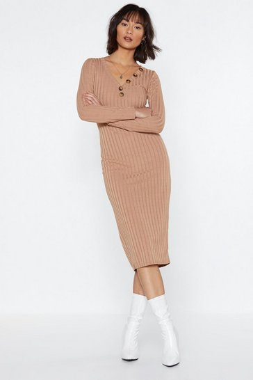 Womens Camel Go For Knit Ribbed Dress