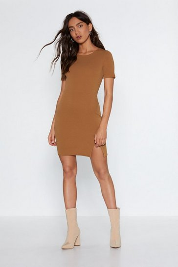 Womens Caramel Slit Up With Me Mini Dress