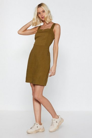 Womens Khaki Another Linen Mini Dress