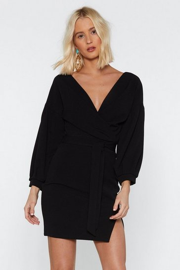 Womens Black Take Your Sleeve Tie Dress