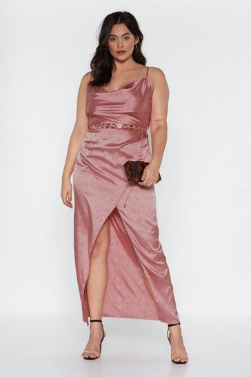 Womens Rose Cowl Play Satin Dress