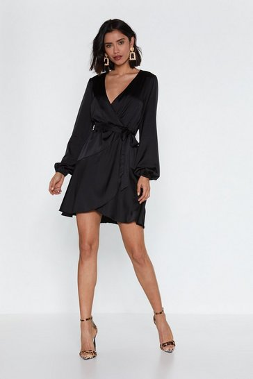 Black Touch and Go Wrap Satin Dress
