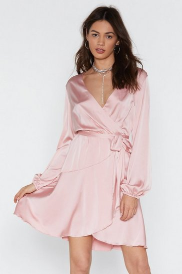 Womens Pink Touch and Go Wrap Satin Dress