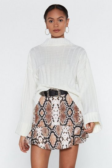 Brown Flip It Snake Skirt
