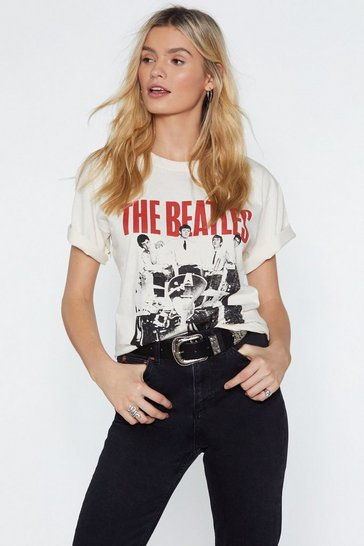 T-shirt de groupe The Beatles American Tour 1964, Crème