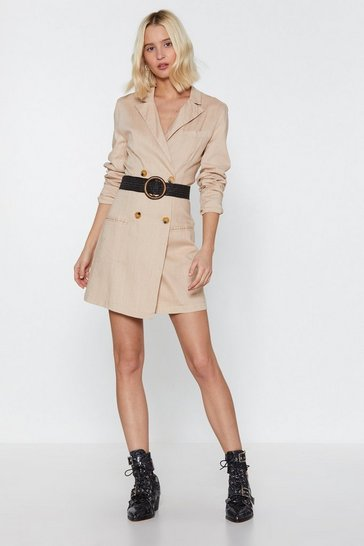 Womens Stone Linen Up Mini Blazer Dress