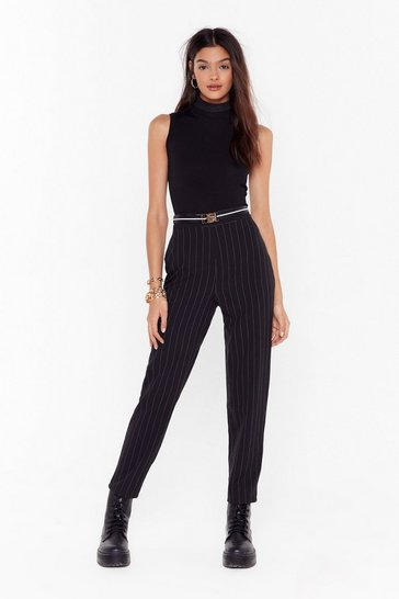 Black Pinstripe High Waisted Tapered Pants
