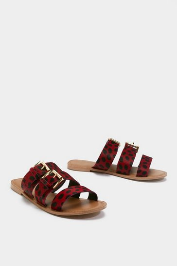 Womens Red Call of the Wild Pony Hair Leather Sandals