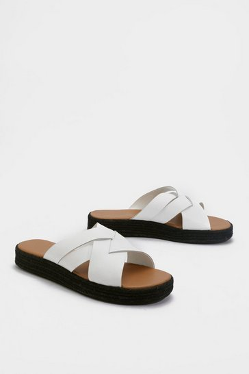 Womens White Leather Weave Detail Flatform Slider