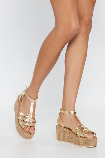 Womens Gold Baking in This Heat Metallic Espadrille Sandals