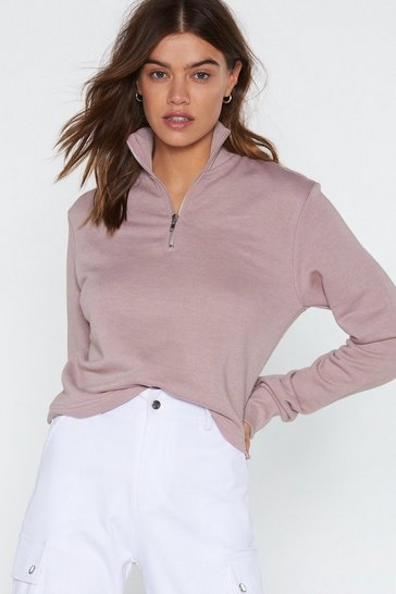 Womens Dusty rose Zip Line Cropped Sweatshirt
