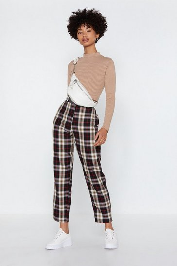 Black Tartan Up Tapered Pants