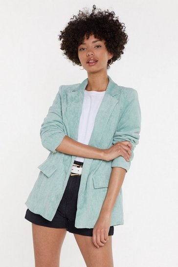 Womens Mint Suit Up Relaxed Corduroy Blazer