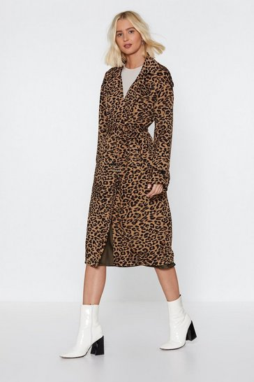 Womens Tan Long Time Leopard Trench Coat