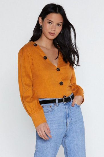 Womens Mustard We Like Big Buttons Shirt